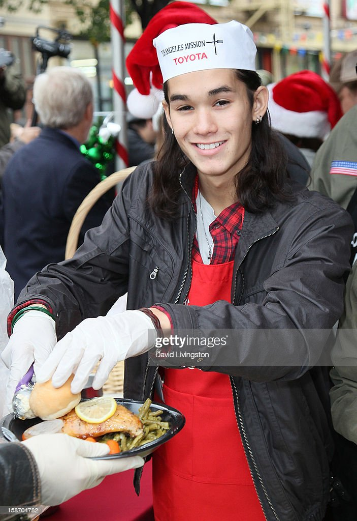 Actor Booboo Stewart attends the Los Angeles Mission's Christmas Eve for the homeless at the Los Angeles Mission on December 24, 2012 in Los Angeles, California.