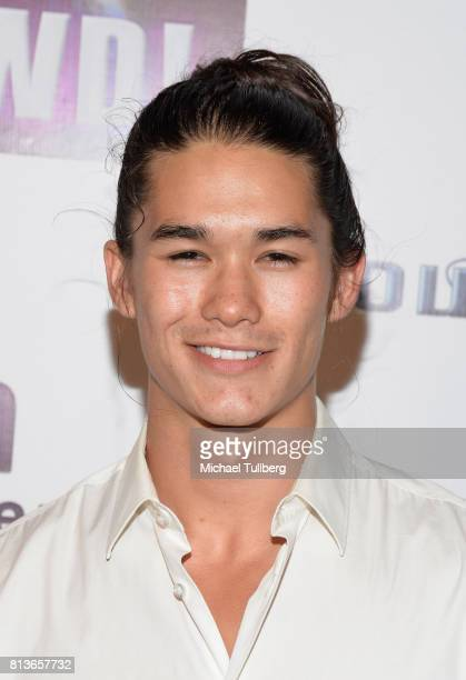 Actor Booboo Stewart attends the premiere of Wow and Flutter Media and Amazon Prime Video's 'It's Gawd' at Pacific Theatres at The Grove on July 12...