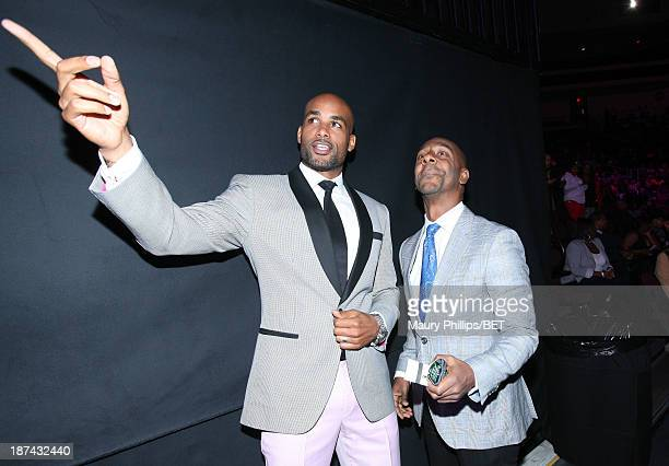 Actor Boris Kodjoe and BET Networks President of Music Programming and Specials Stephen G Hill attend the Soul Train Awards 2013 at the Orleans Arena...