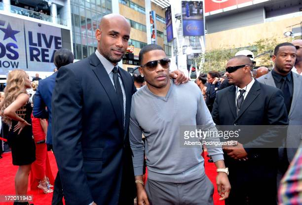 Actor Boris Kodjoe and Nelly attend the PG Red Carpet Style Stage at the 2013 BET Awards at Nokia Theatre LA Live on June 30 2013 in Los Angeles...
