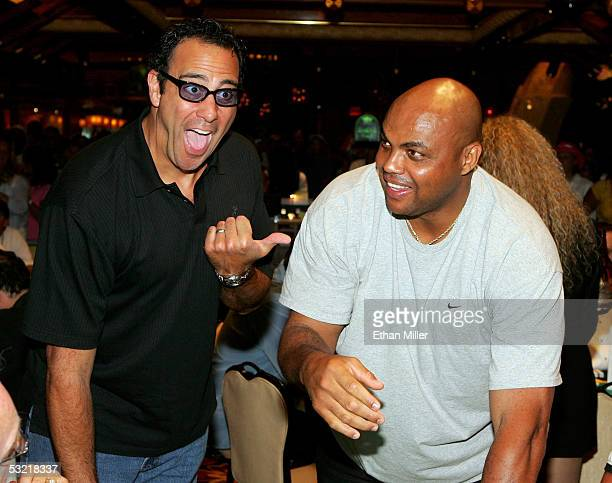 Actor Brad Garrett reacts as he realizes TNT NBA analyst and former NBA player Charles Barkley is playing next to him at the celebrity basketball New...