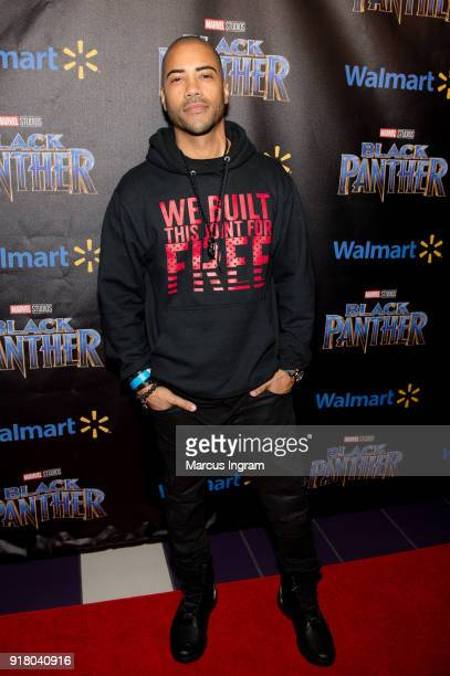 Actor Brad James attends the Marvel Studios Black Panther advance screening at Regal Hollywood on February 13 2018 in Chamblee Georgia