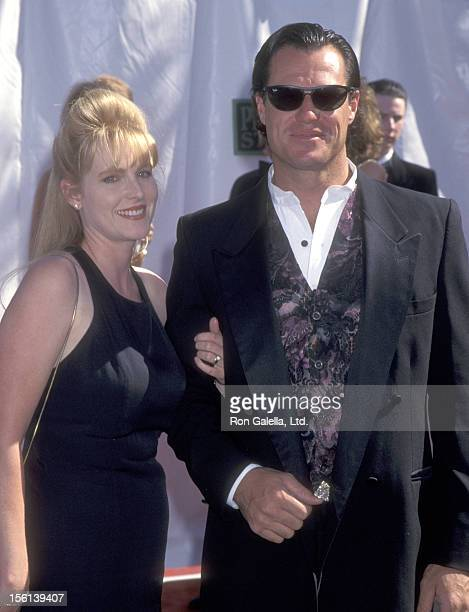 Actor Brad Johnson and wife Laurie Johnson attend the 31st Annual Academy of Country Music Awards on April 24 1996 at Universal Amphitheatre in...