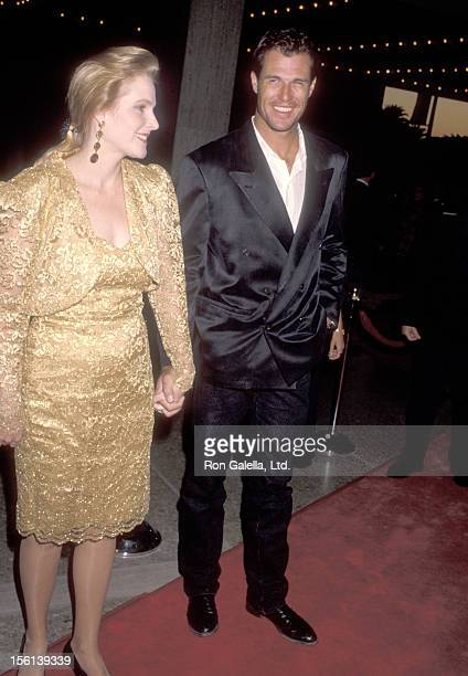 Actor Brad Johnson and wife Laurie Johnson attend the 'Postcards from the Edge' Century City Premiere on September 10 1990 at Cineplex Odeon Century...