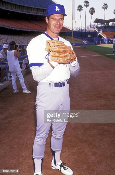 Actor Brad Johnson attends the 33rd Annual 'Hollywood Stars Night' Celebrity Baseball Game on August 17 1991 at Dodger Stadium in Los Angeles...