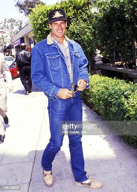 Actor Brad Johnson dines at Le Dome Restaurant on April 18 1991 in West Hollywood California