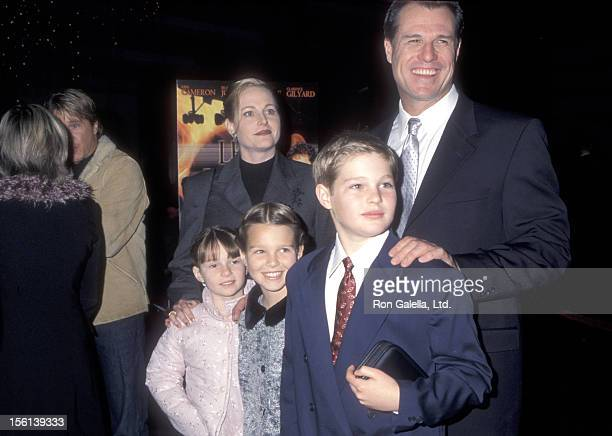 Actor Brad Johnson wife Laurie Johnson and their children attend the 'Left Behind' Los Angeles Premiere on January 26 2001 at DGA Theatre in Los...