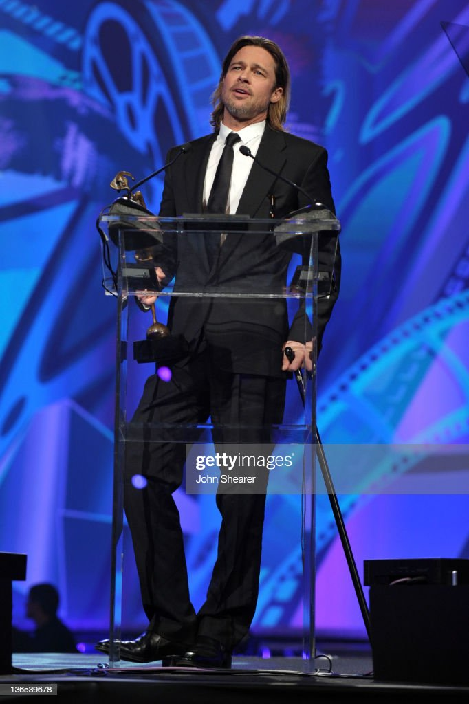 Actor Brad Pitt accepts the Desert Palm Achievement Award onstage during The 23rd Annual Palm Springs International Film Festival Awards Gala at the Palm Springs Convention Center on January 7, 2012 in Palm Springs, California.