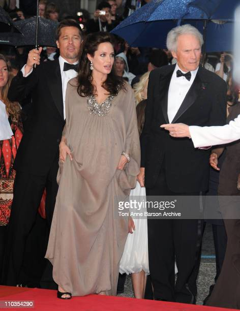 Actor Brad Pitt actress Angelina Jolie and director Clint Eastwood attend the 'Changeling' Premiere at the Palais des Festivals during the 61st...