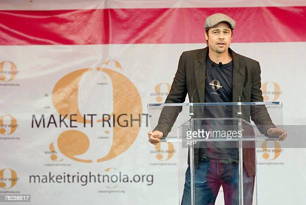 US actor Brad Pitt addresses a press conference about his plans to spend USD12 million with his Make It Right Project to build 150 ecologically...