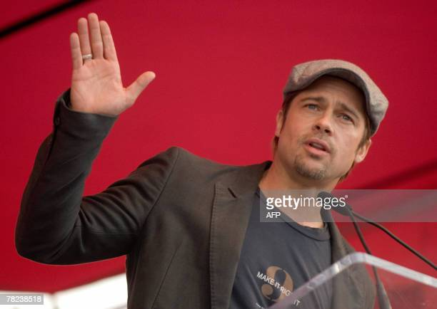 US actor Brad Pitt addresses a press conference about his plans to spend USD12 million with Make It Right Project to build 150 ecologically...