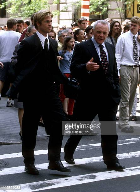 Actor Brad Pitt and actor Anthony Hopkins film 'Meet Joe Black' on June 19 1997 at 55th and 5th Street in New York City