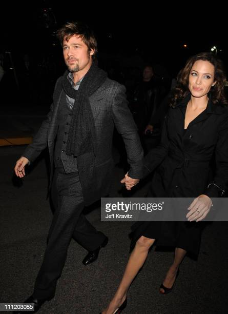 Actor Brad Pitt and Actress Angelina Jolie arrive at the 13th ANNUAL CRITICS' CHOICE AWARDS at the Santa Monica Civic Auditorium on January 7 2008 in...