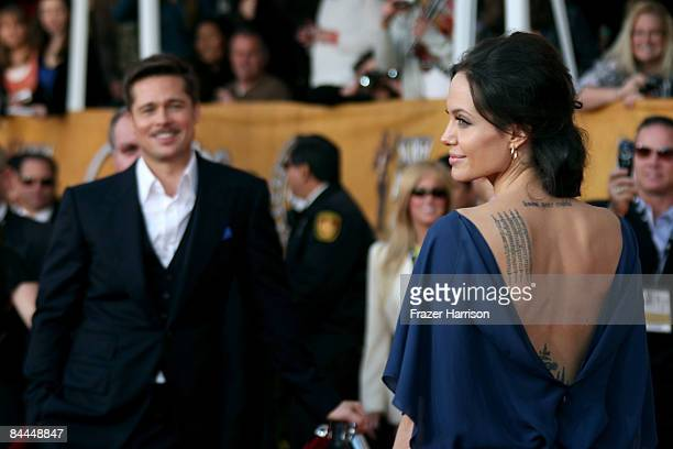 Actor Brad Pitt and actress Angelina Jolie arrive at the 15th Annual Screen Actors Guild Awards held at the Shrine Auditorium on January 25 2009 in...