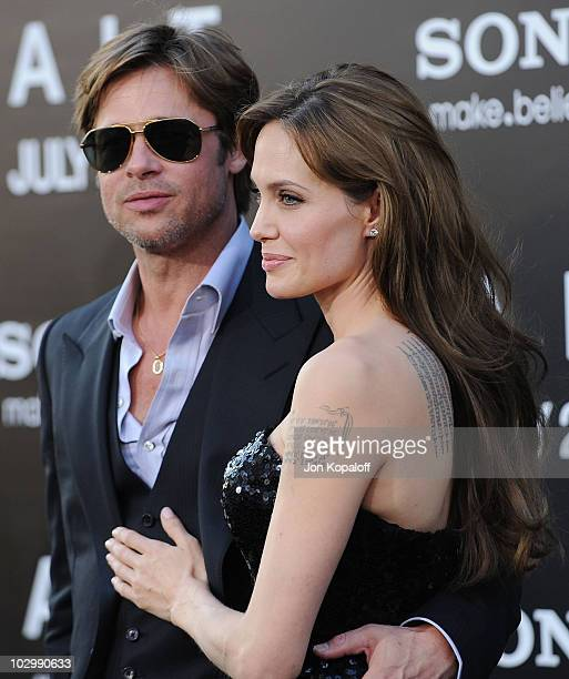 Actor Brad Pitt and actress Angelina Jolie arrive at the Los Angeles Premiere Salt at Grauman's Chinese Theatre on July 19 2010 in Hollywood...