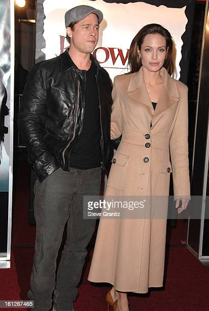 Actor Brad Pitt and Actress Angelina Jolie arrive at the Los Angeles Premiere of 'Beowulf' at Westwood Village on November 5 2007 in Weswood...