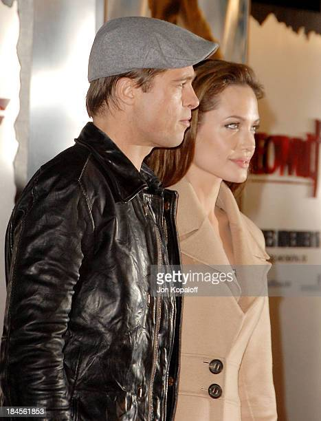 Actor Brad Pitt and actress Angelina Jolie arrive at the Los Angeles Premiere 'Beowulf' at the Mann Village Theater on November 5 2007 in Westwood...
