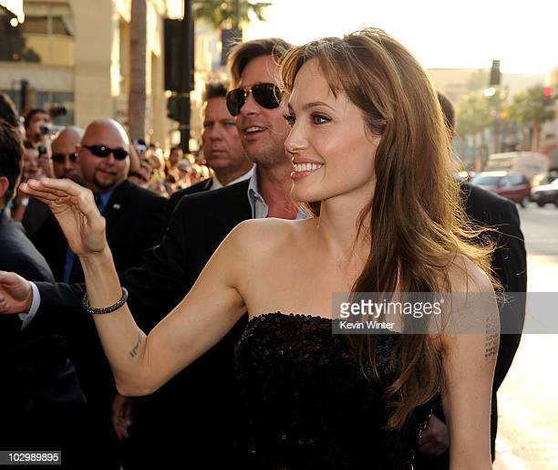 Actor Brad Pitt and actress Angelina Jolie arrive at the premiere of Sony Pictures' Salt at Grauman's Chinese Theatre on July 19 2010 in Hollywood...