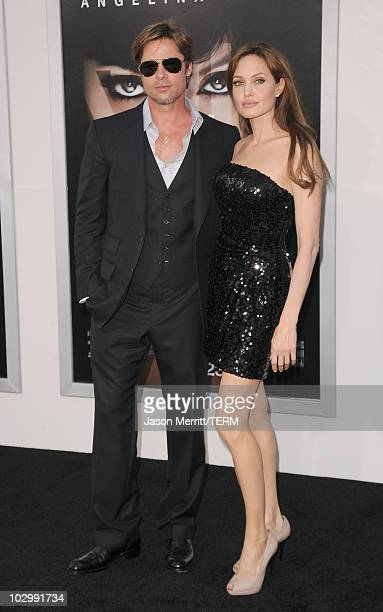 Actor Brad Pitt and actress Angelina Jolie arrive at the premiere of Sony Pictures' 'Salt' at Grauman's Chinese Theatre on July 19 2010 in Hollywood...