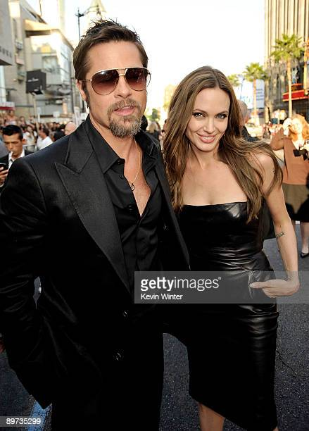 Actor Brad Pitt and actress Angelina Jolie arrive at the premiere of Weinstein Co's Inglourious Basterds held at Grauman's Chinese Theatre on August...