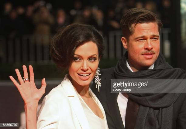 Actor Brad Pitt and actress Angelina Jolie arrive for the German premiere of 'The Curious Case of Benjamin Button' at the Sony Center CineStar on...