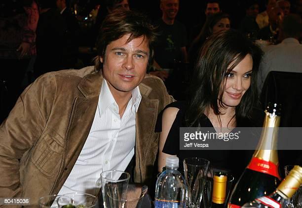 SANTA MONICA CA FEBRUARY 23 Actor Brad Pitt and Actress Angelina Jolie at the 2008 Film Independent's Spirit Awards Green Room at Santa Moncia Pier...