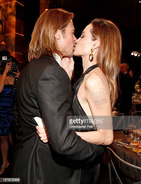 Actor Brad Pitt and actress Angelina Jolie attend The 18th Annual Screen Actors Guild Awards broadcast on TNT/TBS at The Shrine Auditorium on January...