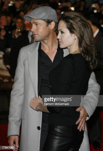 Actor Brad Pitt and Actress Angelina Jolie attend the Beowulf European premiere at Vue Leicester Square on 11 November 2007 in LondonEngland