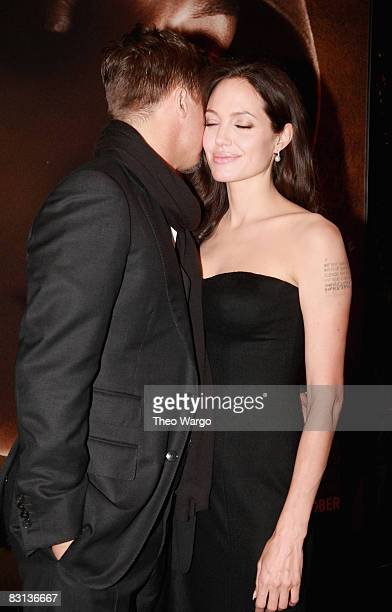 Actor Brad Pitt and actress Angelina Jolie attend the premiere of 'Changeling' during the 46th New York Film Festival at the Ziegfeld Theater on...