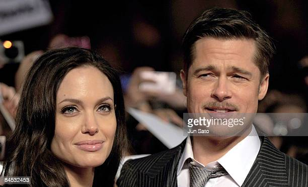 Actor Brad Pitt and actress Angelina Jolie attend the The Curious Case of Benjamin Button Japan Premiere at Roppongi Hills arena on January 29 2009...