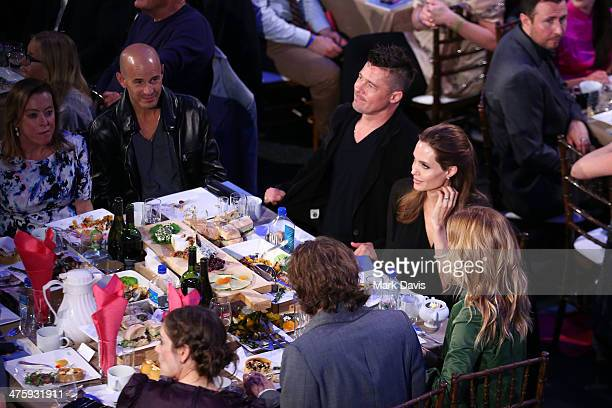 Actor Brad Pitt and actress Angelina Jolie during the 2014 Film Independent Spirit Awards at Santa Monica Beach on March 1 2014 in Santa Monica...