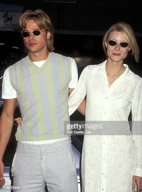 Actor Brad Pitt and actress Gwyneth Paltrow attend The Pallbearer New York City Premiere on April 28 1996 at the Tribeca Film Center in New York City