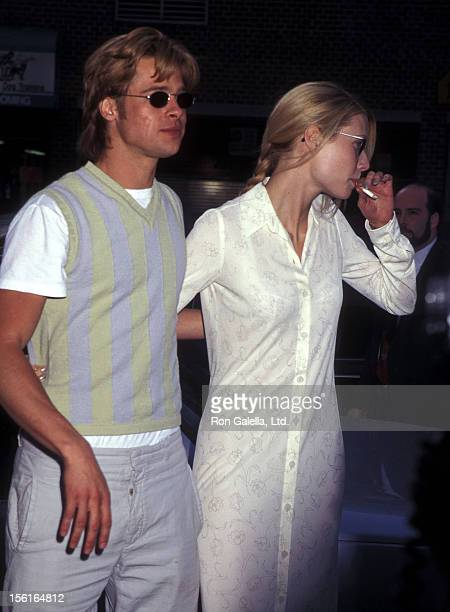 Actor Brad Pitt and actress Gwyneth Paltrow attend 'The Pallbearer' New York City Premiere on April 28 1996 at the Tribeca Film Center in New York...