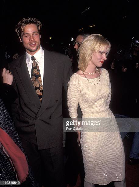 Actor Brad Pitt and actress Juliette Lewis attend the Cape Fear New York City Premiere on November 6 1991 at the Ziegfeld Theater in New York City