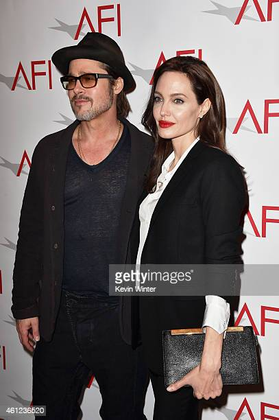 Actor Brad Pitt and actress/director Angelina Jolie attend the 15th Annual AFI Awards at Four Seasons Hotel Los Angeles at Beverly Hills on January...