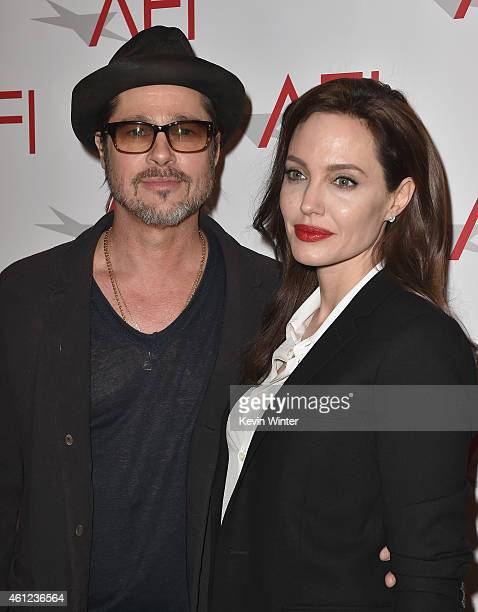 Actor Brad Pitt and actress/director Angelina Jolie attend the 15th Annual AFI Awards at Four Seasons Hotel Los Angeles at Beverly Hills on January 9...
