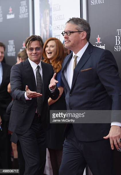 """Actor Brad Pitt and director Adam McKay attend the premiere of """"The Big Short"""" at Ziegfeld Theatre on November 23, 2015 in New York City."""