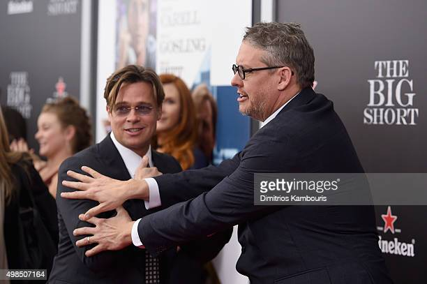 Actor Brad Pitt and director Adam McKay attend the premiere of The Big Short at Ziegfeld Theatre on November 23 2015 in New York City