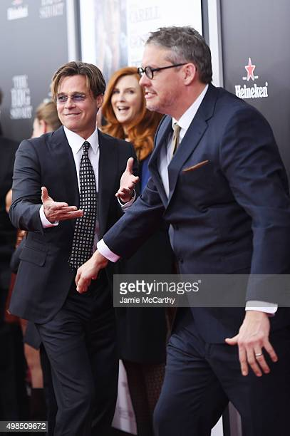 Actor Brad Pitt and director Adam McKay attend the premiere of 'The Big Short' at Ziegfeld Theatre on November 23 2015 in New York City