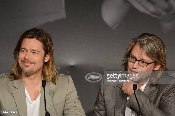 Actor Brad Pitt and director Andrew Dominik speak at the 'Killing Them Softly' press conference during the 65th Annual Cannes Film Festival at Palais...
