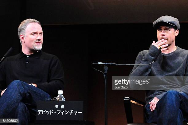 """Actor Brad Pitt and director David Fincher attend the """"The Curious Case of Benjamin Button"""" press conference at Grand Hyatt Tokyo on January 28, 2009..."""