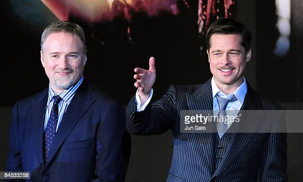 Actor Brad Pitt and director David Fincher attend the The Curious Case of Benjamin Button Japan Premiere at Roppongi Hills arena on January 29 2009...