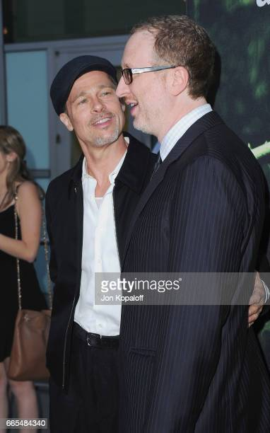 Actor Brad Pitt and director James Gray arrive at the Premiere Of Amazon Studios' 'The Lost City Of Z' at ArcLight Hollywood on April 5 2017 in...