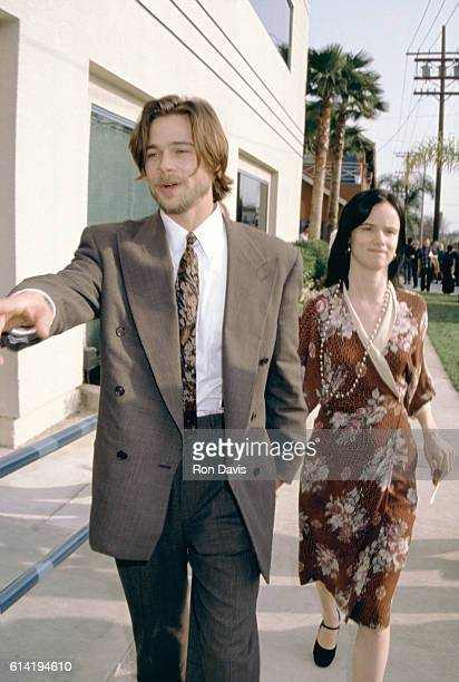 Actor Brad Pitt and girlfriend actress Juliette Lewis attend the 1992 7th Annual IFP/West Independent Spirit Awards on March 28 1992 at Raleigh...