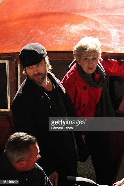 Actor Brad Pitt and his mother Jane Pitt are seen filming on location for The Tourist on April 13 2010 in Venice Italy
