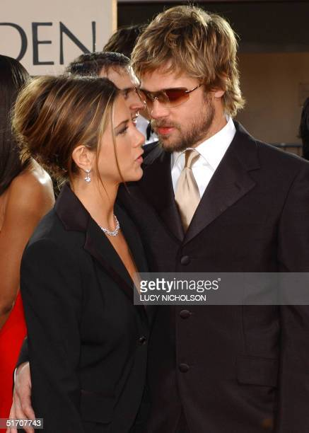 US actor Brad Pitt and his wife actress Jennifer Aniston arrive at the 59th Annual Golden Globe Awards in Beverly Hills 20 January 2002 Aniston was...