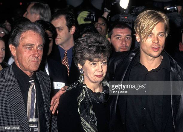 Actor Brad Pitt and parents William Pitt and Jane Pitt attend The Devil's Own New York City Premiere on March 13 1997 at City Cinemas Cinema 1 in New...