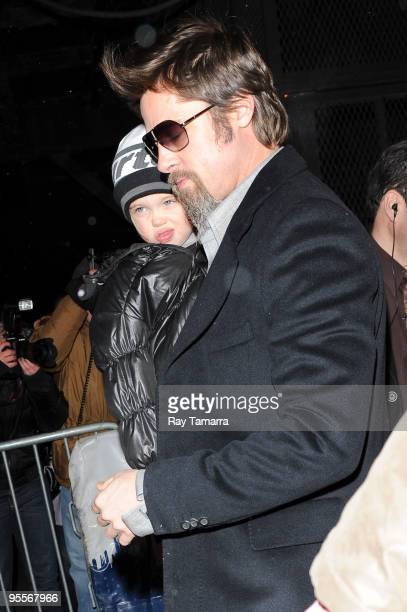 Actor Brad Pitt and Shiloh Nouvel JoliePitt leave the 'Mary Poppins' show at the New Amsterdam Theater on January 03 2010 in New York City