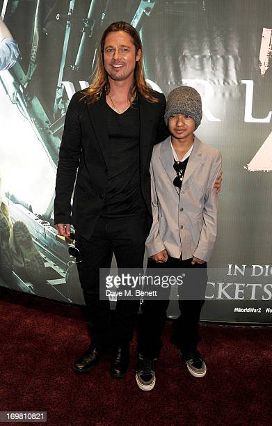 Actor Brad Pitt and son Maddox Jolie-Pitt attend the World Premiere of 'World War Z' at The Empire Cinema Leicester Square on June 2, 2013 in London,...