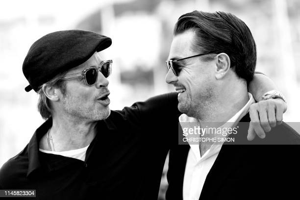 US actor Brad Pitt and US actor Leonardo DiCaprio pose during a photocall for the film Once Upon a Time in Hollywood at the 72nd edition of the...